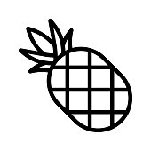 istock Pineapple vector, Barbecue related line style editable stroke icon 1126384870
