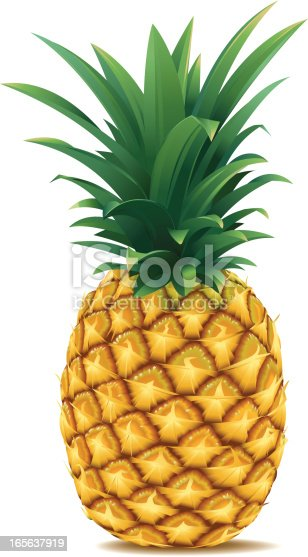 Vector illustration of a ripe pineapple. High-res. JPG (3500 px high) and Print-PDF included. Done with simple gradients and blends. NO MESH-GRADIENTS used.