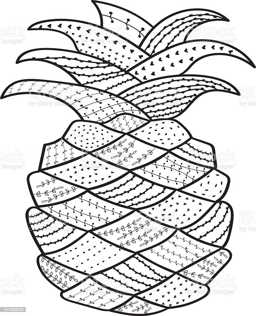 Ananas Rysunek ananas oryginalny rysunek kreskowy kolorowanka dla dorosłych