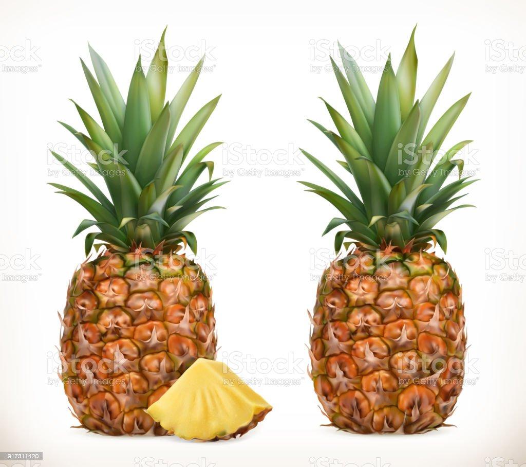 Pineapple. Whole and pieces. Sweet fruit. 3d vector icons set. Realistic illustration – artystyczna grafika wektorowa