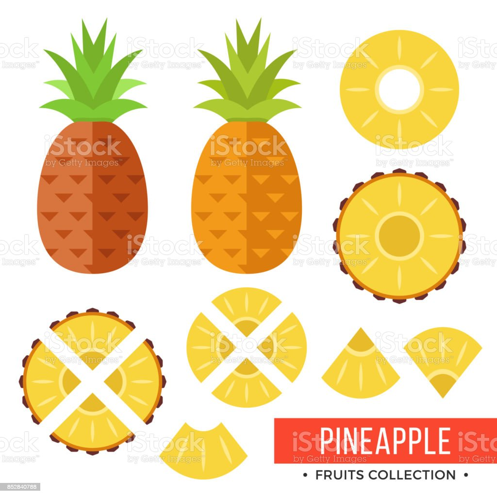 Pineapple. Whole pineapple, ananas and parts, leaves, slices, core. Set of fruits. Flat design graphic elements. Vector illustration – artystyczna grafika wektorowa