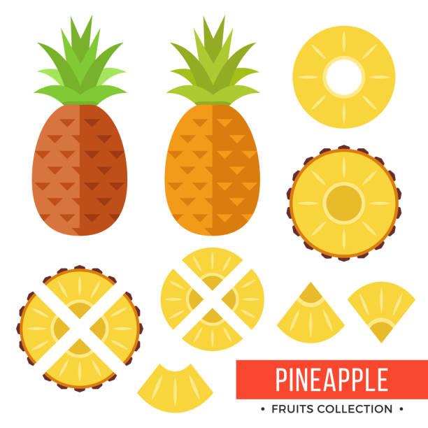 Pineapple. Whole pineapple, ananas and parts, leaves, slices, core. Set of fruits. Flat design graphic elements. Vector illustration – artystyczna grafika wektorowa