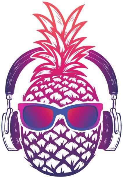 Pineapple with sunglases and headphones. Summer consept. Vector illustration. – artystyczna grafika wektorowa