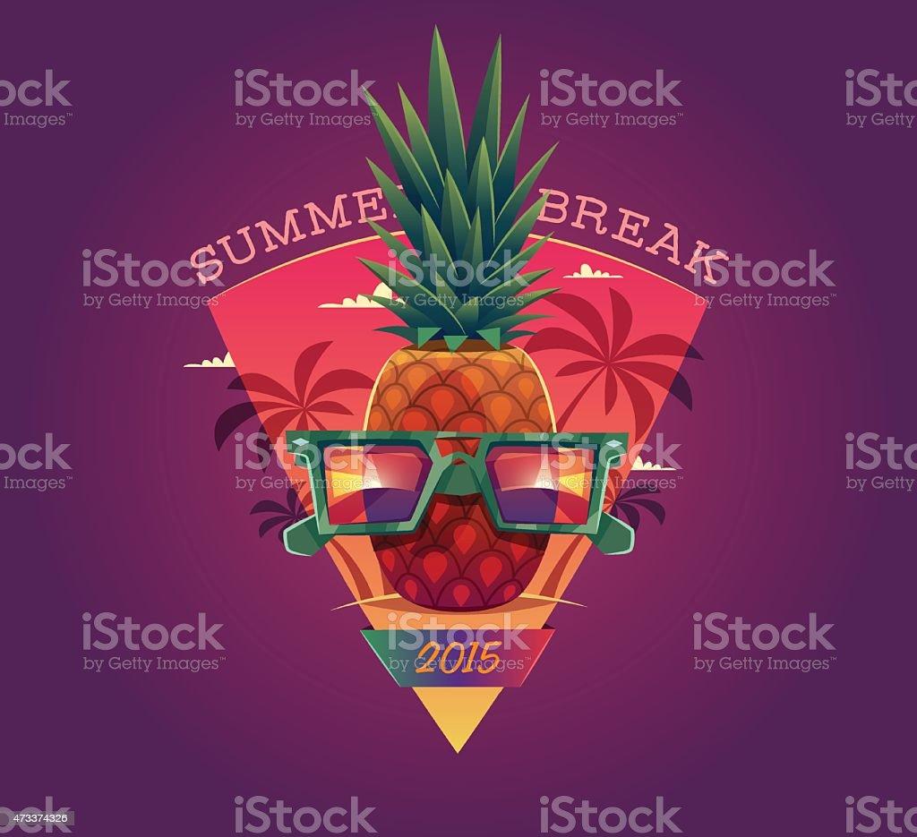 Pineapple with sunglasses summer break 2015 poster vector art illustration