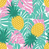Pineapple with tropical leaves seamless pattern. Summer fruit illustration.