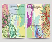 Bright brochure flyer vector template with hand drawn pineapples silhouette. Vector illustration