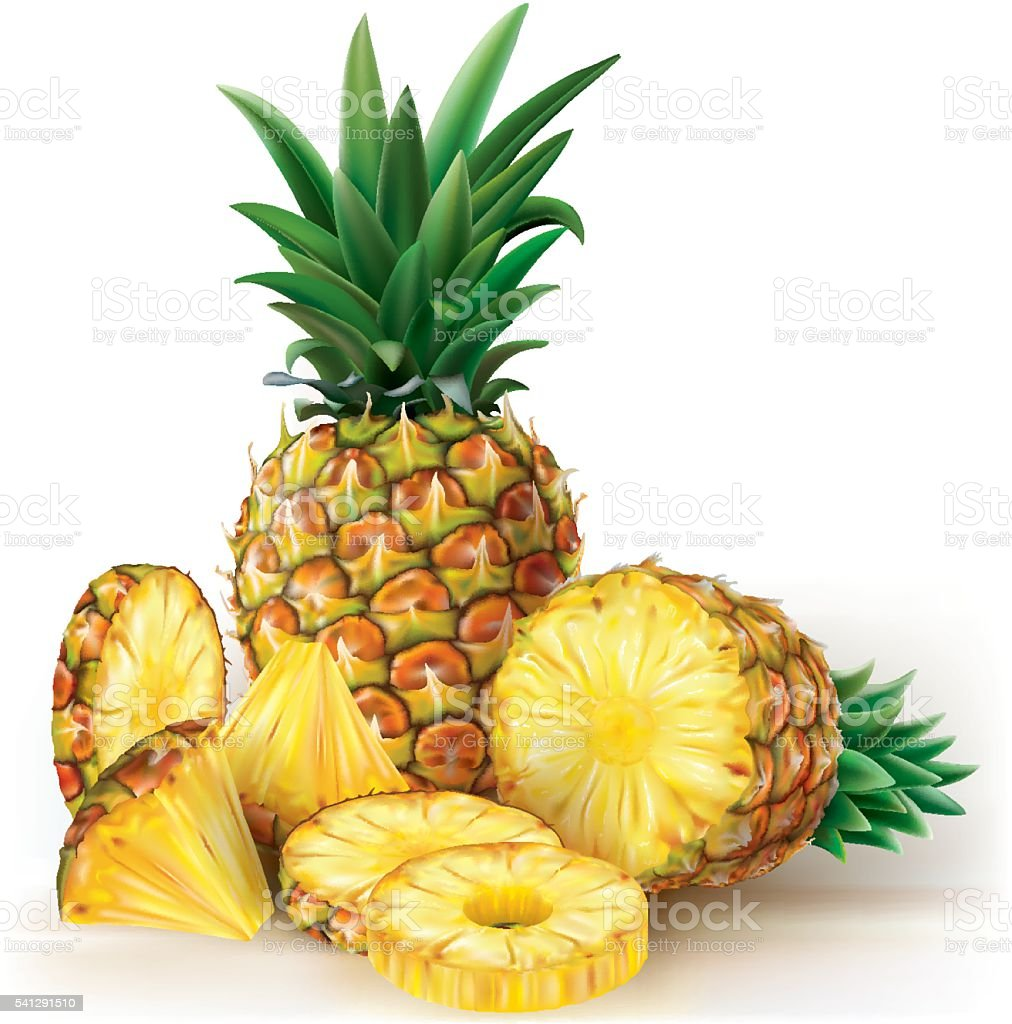 Pineapples with slices vector art illustration