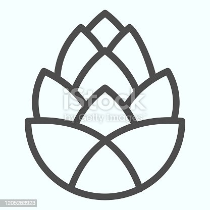 istock Pinecone brewery plant line icon. One single flower of pine cone. Autumn season vector design concept, outline style pictogram on white background, use for web and app. Eps 10. 1205283923