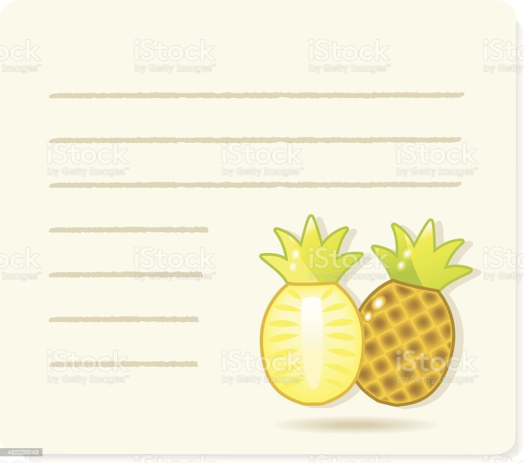 ananas on recipepaper. royalty-free ananas on recipepaper stock vector art & more images of brown