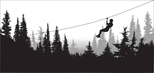 Pines-manningPark Zipline silhouette illustration with someone going down the cable over a forest treelined stock illustrations