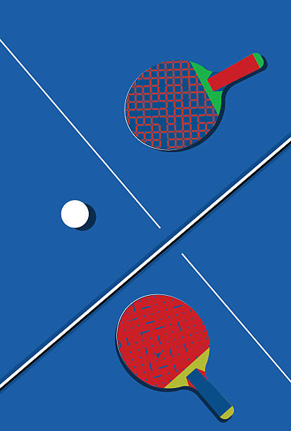 Ping pong background with two vintage ping pong paddles. Ping pong background with two vintage ping pong paddles on a blue table. ping pong table stock illustrations