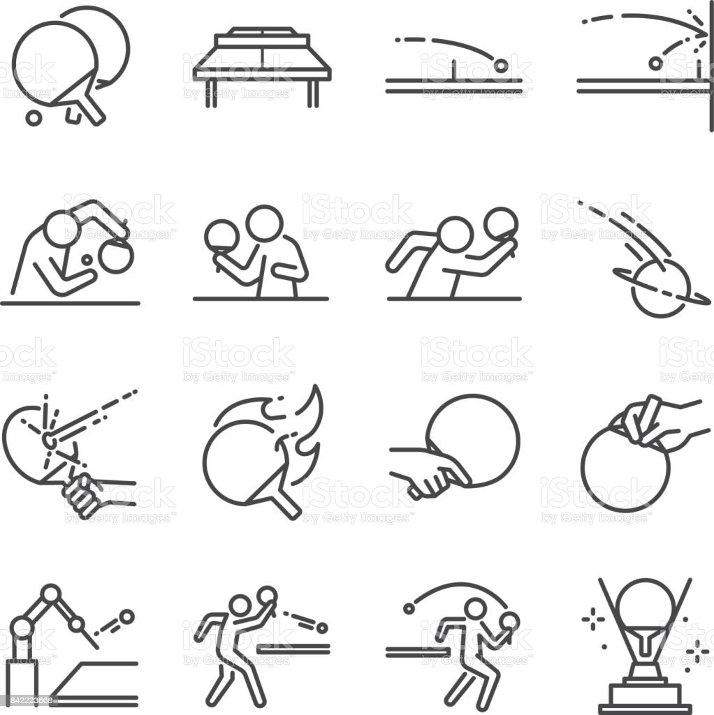 Ping Pong line icon set. Included the icons as ball, racket, table tennis, player, serves, defender, table tennis and more. vector art illustration