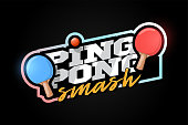 Ping pong mascot Modern professional sport Typography in retro style. Vector design emblem, badge and sporty template logo design