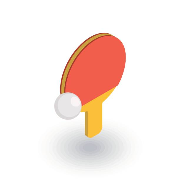 ping pong, racket and ball isometric flat icon. 3d vector ping pong, racket and ball isometric flat icon. 3d vector colorful illustration. Pictogram isolated on white background ping pong table stock illustrations