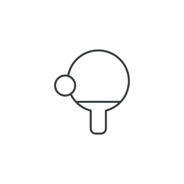 ping pong, racket and ball thin line icon. Linear vector symbol ping pong, racket and ball thin line icon. Linear vector illustration. Pictogram isolated on white background ping pong table stock illustrations
