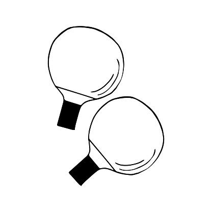 ping pong racket. hand drawn doodle icon. vector, scandinavian, nordic, minimalism, monochrome. sports equipment.