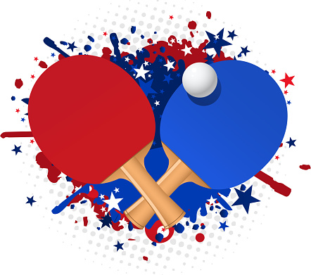 Ping pong red and blue racket splash with ball stars