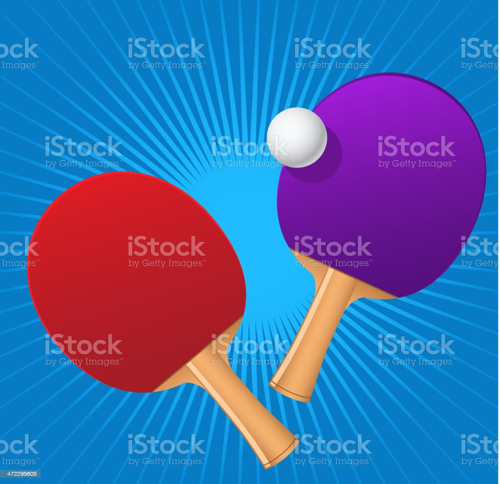 Ping pong red and blue rackets with game ball royalty-free stock vector art