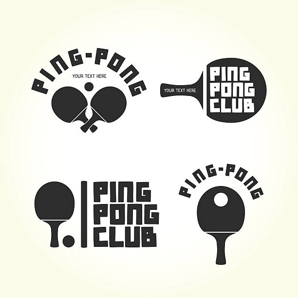 stockillustraties, clipart, cartoons en iconen met ping-pong club isolated vector logotypes - paddle