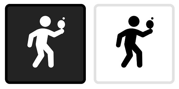 Ping-Pong Icon on  Black Button with White Rollover