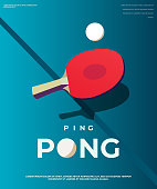 Ping-pong Poster Template. Table and rackets for ping-pong. Vector illustration EPS10