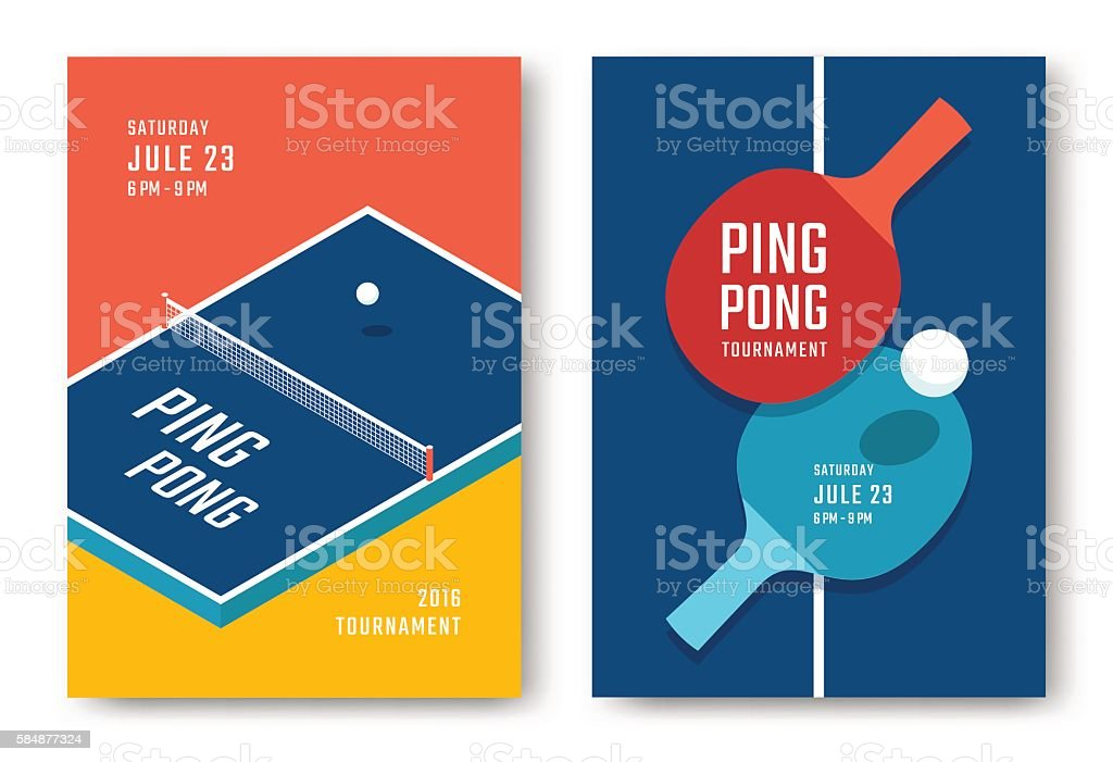 Ping-pong posters design vector art illustration