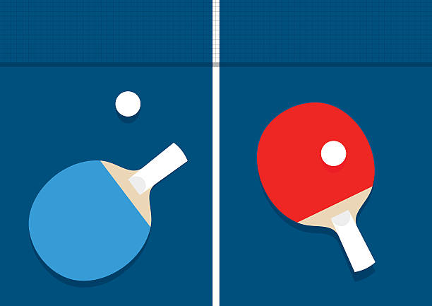 Ping-pong vector illustration Ping-pong vector illustration. Table tennis rackets, balls and shadow of net racket stock illustrations