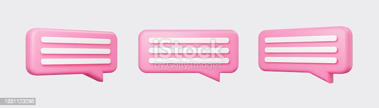 istock Pink 3d bubble talks set isolated on gray background. Glossy pink speech bubbles, dialogue, messenger shapes. 3D render vector icons for social media or website 1331123295