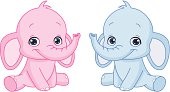 A pink and a blue baby elephant cartoon