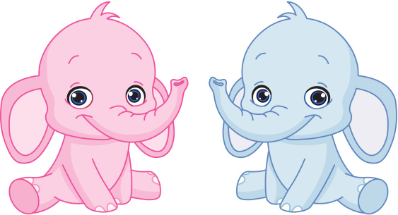A Pink And A Blue Baby Elephant Cartoon Stock Illustration ...