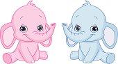 A pink and a blue baby elephant cartoon