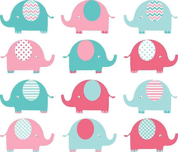 rosa und aqua niedlich elephant set. - elefantenkunst stock-grafiken, -clipart, -cartoons und -symbole