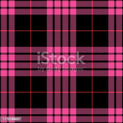 Pink, black and red Scottish tartan plaid seamless textile pattern background.