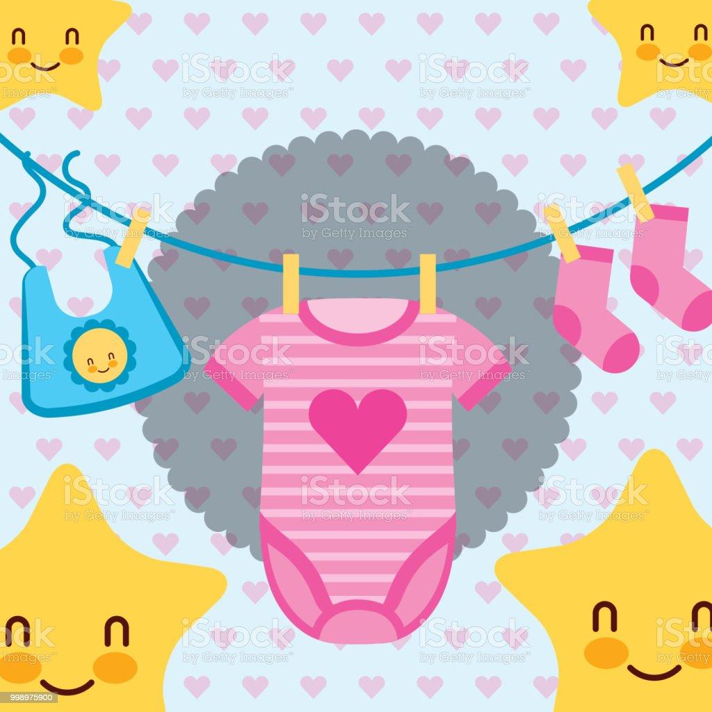 4313c6817 rosa y azul ropa de bebé de dibujos animados de estrellas ilustración de  rosa y azul