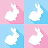 Vector illustration of white easter bunnyies on pink and blue backgrounds.