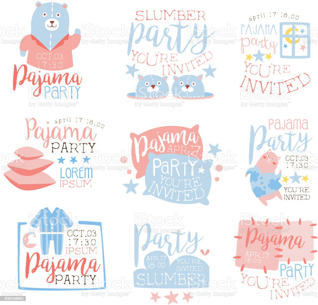 Pink And Blue Girly Pajama Party Invitation Templates vector art illustration