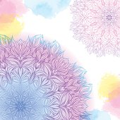 pink and blue mandala with watercolor stains