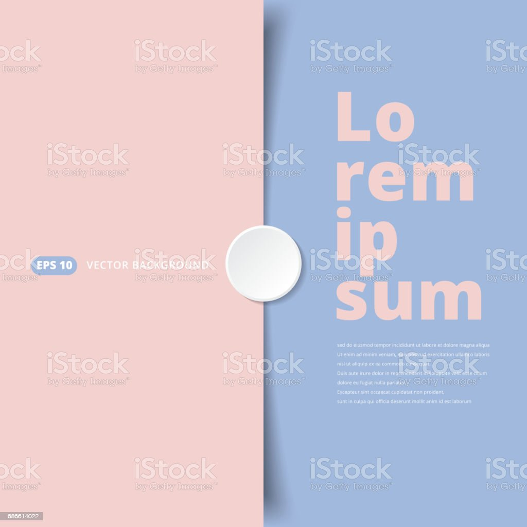 Pink and Blue pastel paper overlap covered with white circle stickers. vector illustration background vector art illustration