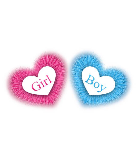 rosa und blau bieten die geschlecht baby-dusche - herzkissen stock-grafiken, -clipart, -cartoons und -symbole