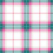 Pink, blue and white Scottish tartan plaid seamless textile pattern background.