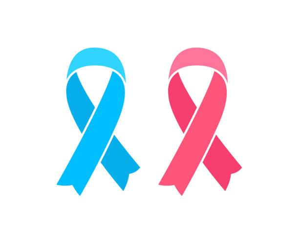 ilustrações, clipart, desenhos animados e ícones de fitas de seda cor-de-rosa e azuis isoladas no whiate. símbolos da consciência do cancro da mama e da próstata - pink october