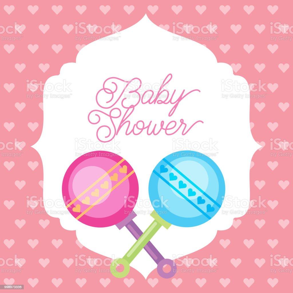 040585b30 tarjeta de ducha de bebé de fondo de corazones sonajeros de juguete de  color rosa y