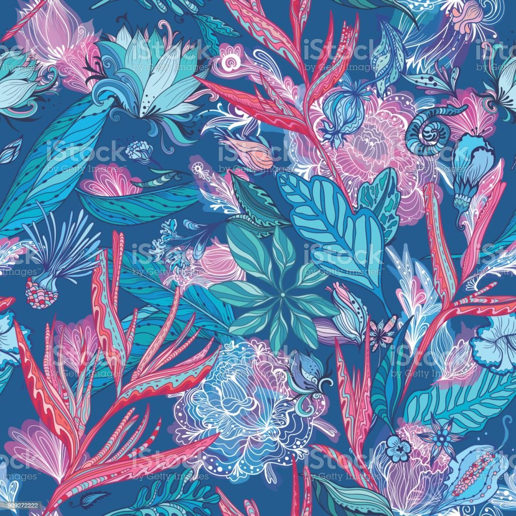 Pink and Blue Vector Tropical Pattern vector art illustration