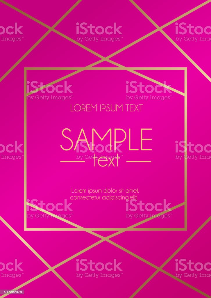 Pink And Gold Geometric Design Template Modern Design For Wedding ...