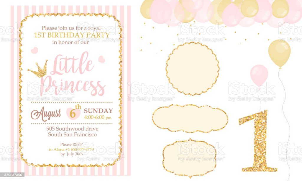 Pink And Gold Princess Party Decor Cute Happy Birthday Card Template
