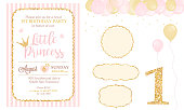 Pink and gold princess party decor. Cute happy birthday card template elements.