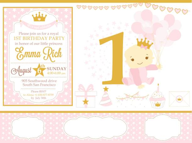 Pink and gold princess party decor. Cute happy birthday card template elements. Birthday party and girl baby shower design elements set. Seamless pattern backgrounds. invitational stock illustrations