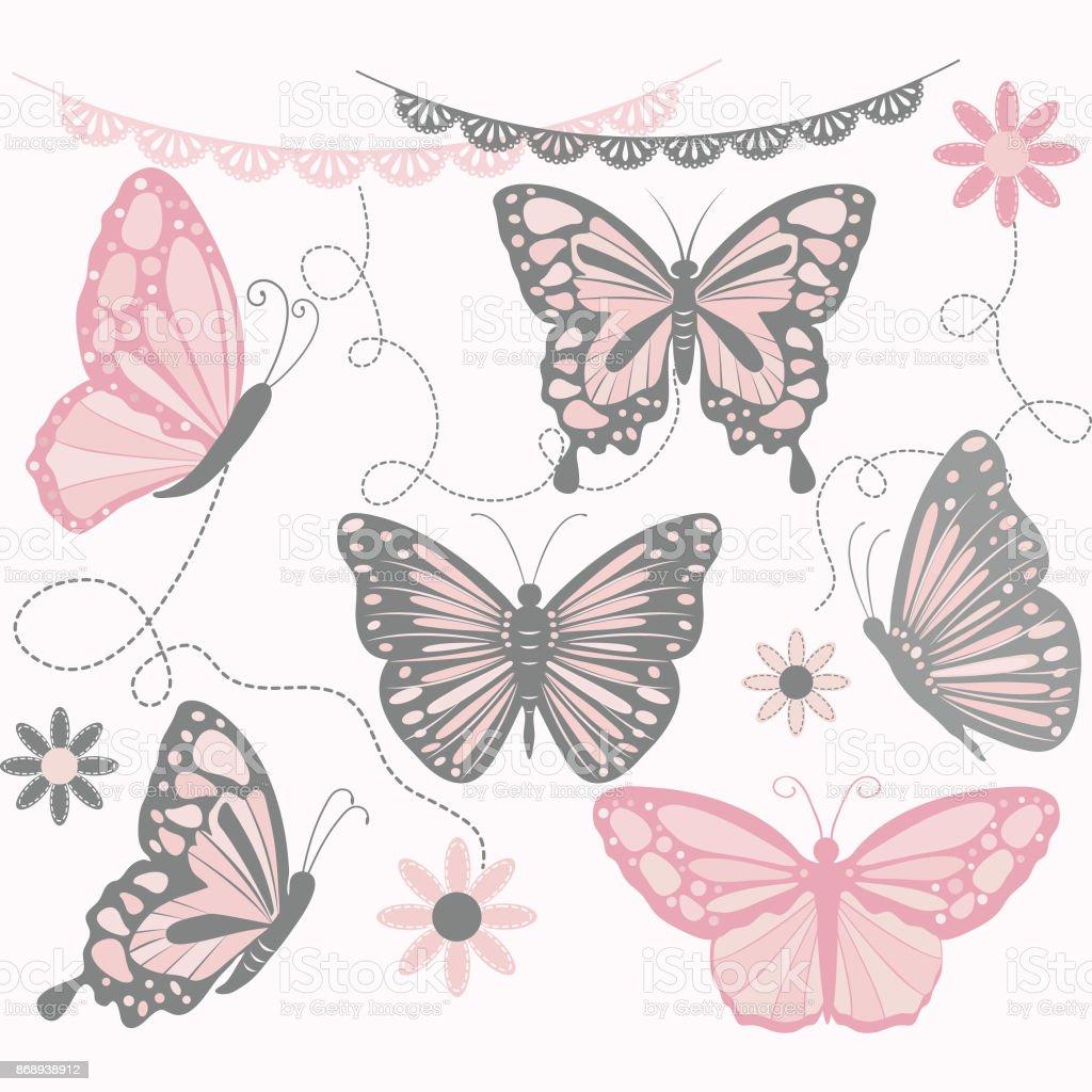 Ilustração De Borboleta Rosa E Cinza Collectionsbutterfly Silhueta