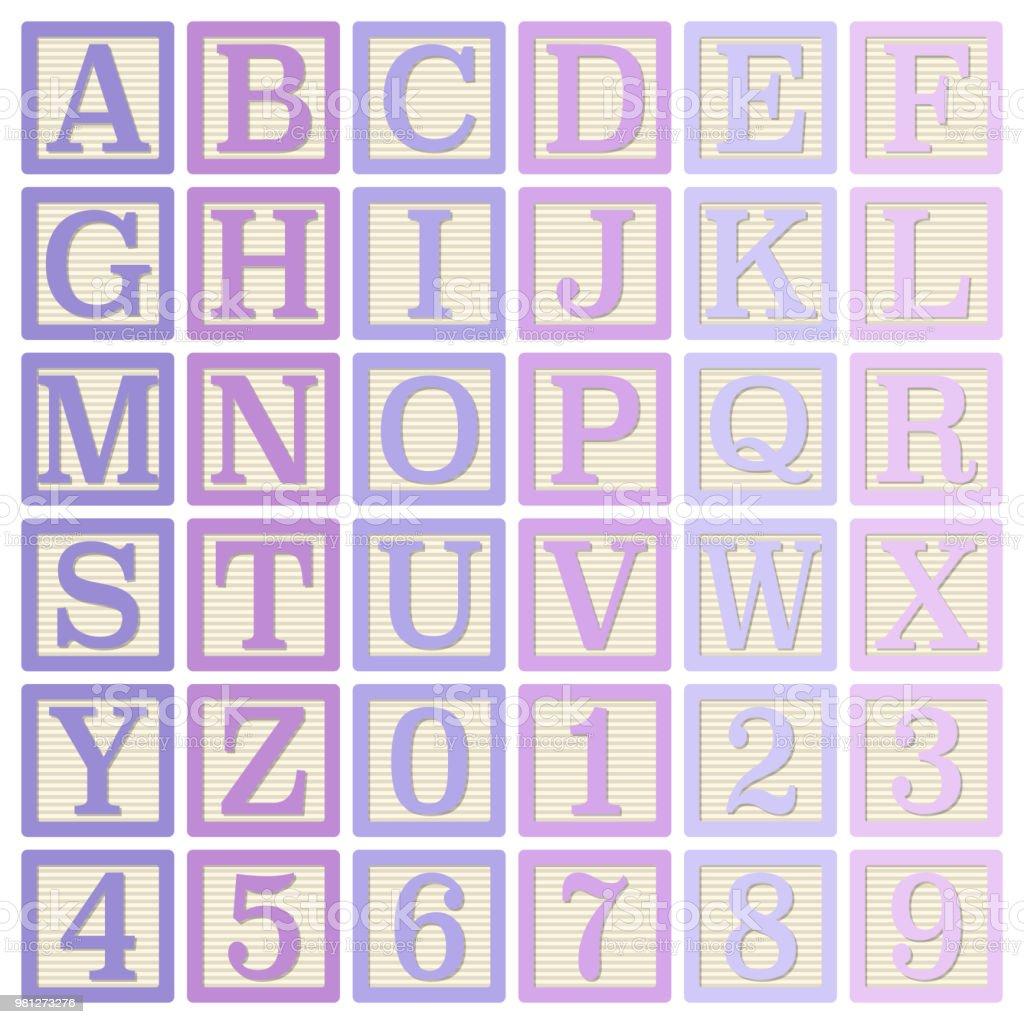 Alfabeto color rosa y púrpura bloques - ilustración de arte vectorial