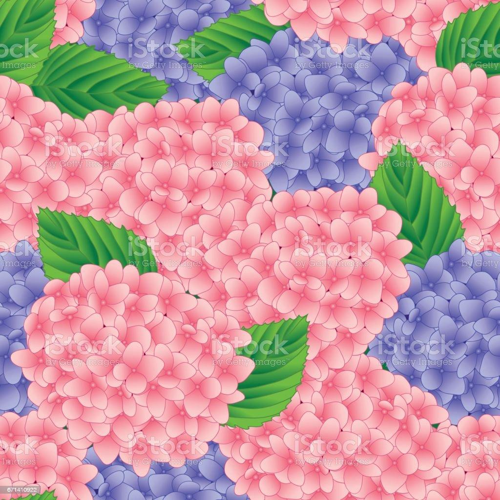Pink and Purple Hydrangea Flower Seamless Background. Vector Illustration vector art illustration